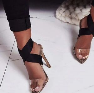 Shoes - 🌟LAST PAIR!!🌟Snake Print Criss Cross Stiletto